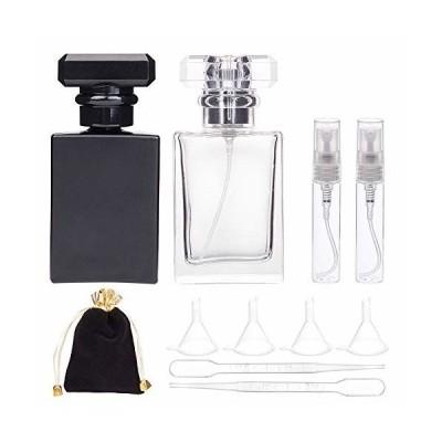BENECREAT 30ml四角香水スプレーボトルセット ガラス香水ボトル ミニ小分けボトル付き 化粧水 香水小分け 化粧品
