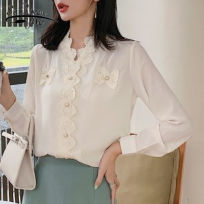 【送料無料】長袖 シフォンブラウス 透け感 Vネック 婦人服 新作 夏物 韓国 ファッション トップス