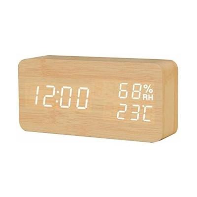 型 目覚まし時計 置き時計 木目 温度湿度計 カレンダー卓上時計 ベッドサイドクロック USB/電池給電 大音量 多