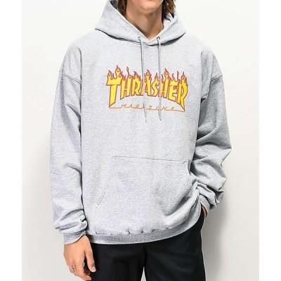 スラッシャー THRASHER メンズ パーカー トップス Thrasher Flame Logo Grey Hoodie Grey