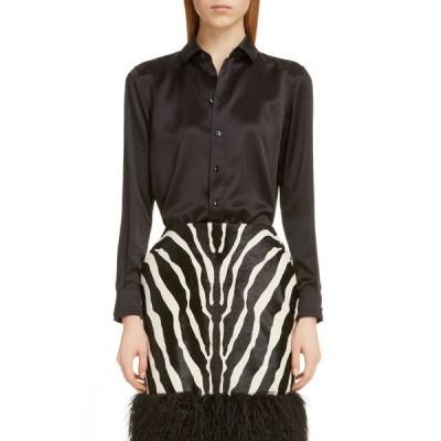 イヴ サンローラン SAINT LAURENT レディース ブラウス・シャツ トップス Silk Shirt Noir