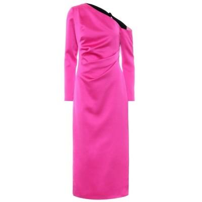 ロサリオ RASARIO レディース ワンピース ワンショルダー ミドル丈 ワンピース・ドレス One-shoulder stretch-satin midi dress Pink/Black