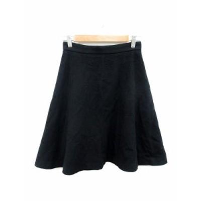 【中古】ノーリーズ Nolley's スカート フレア ひざ丈 ウール 36 黒 ブラック /ST レディース