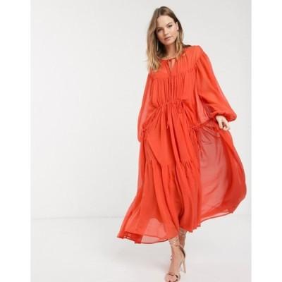 エイソス レディース ワンピース トップス ASOS DESIGN Eivissa soft tiered maxi dress with drawstring details