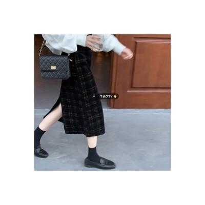 【送料無料】秋冬 ファッション ハイウエスト 着やせ ヴィンテージのチェック柄スカー | 346770_A64430-6904544