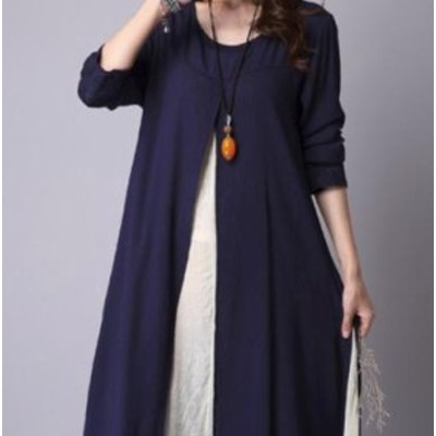 LAZA 【XL/ブルー】長袖 重ね着風ワンピース 綿 刺繍 春秋 レディース スリット きれいめ Uネック