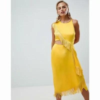 エイソス ワンピース ASOS DESIGN cut out side fringe midi dress Gold