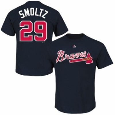 Majestic マジェスティック スポーツ用品  Majestic John Smoltz Atlanta Braves Navy Blue Cooperstown Collection Name & Number T-Shi
