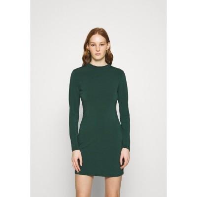 エブンアンドオッド ワンピース レディース トップス Mini high neck long sleeves bodycon dress - Shift dress - dark green