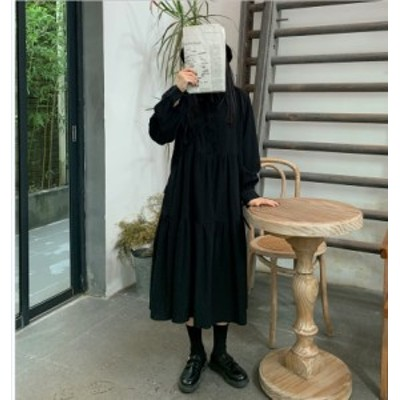 大きいサイズのレディースワンピース  ゆったり オーバーサイズ 襟 フリル Aライン ワントーン ワンピース 長袖 きれいめ  ~