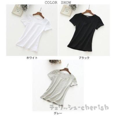 Tシャツ 半袖 レディース ラウンドネック 女性用 半袖Tシャツ 薄手 夏物 トップス 着まわし シンプル 肌着