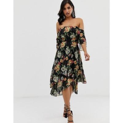 エイソス ASOS DESIGN レディース ワンピース ワンピース・ドレス bandeau midi dress in layered floral print ダークフローラル