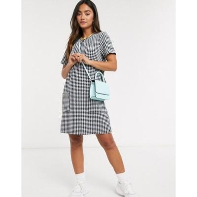 ブレーブソウル レディース ワンピース トップス Brave Soul pocket detail shift dress in black and white check
