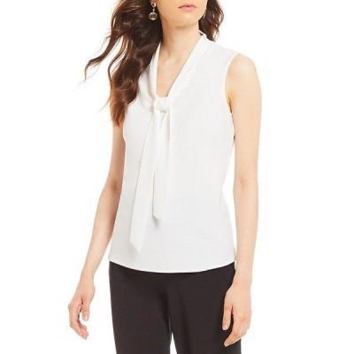 カスパー レディース Tシャツ トップス Tie-Neck Crepe De Chine Top White