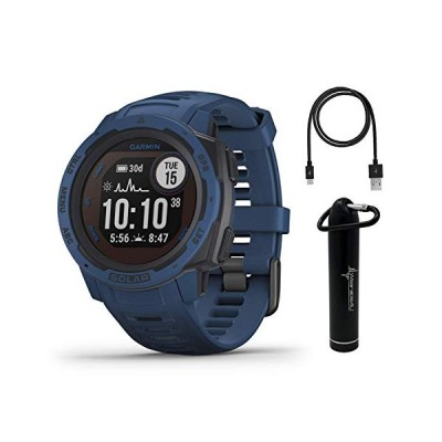 Garmin Instinct Solar Premium GPS Smartwatch with Included Wearable4U Power Bank Bundle (Tidal Blue) 並行輸入品