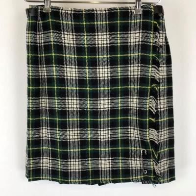 【古着】 ラップスカート キルトスカート タータンチェック 裏地無し ミニ丈 グリーン系 レディースW26 n012682