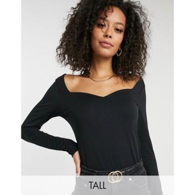 ベロモーダ レディース シャツ トップス Vero Moda Tall long sleeve T-shirt with sweetheart neck in black
