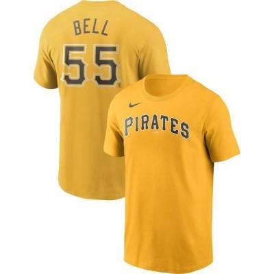 ナイキ メンズ Tシャツ トップス Nike Men's Pittsburgh Pirates Josh Bell #55 Yellow T-Shirt