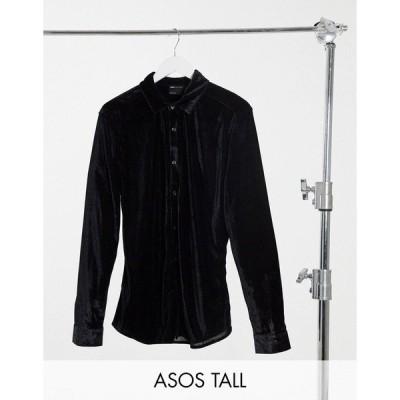 エイソス メンズ シャツ トップス ASOS DESIGN Tall skinny fit velvet shirt in black Black
