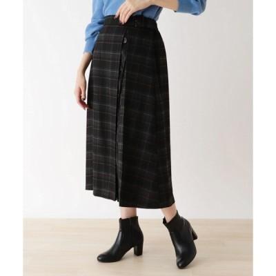 スカート 【M-L】チェック起毛サイドボタン付きスカート