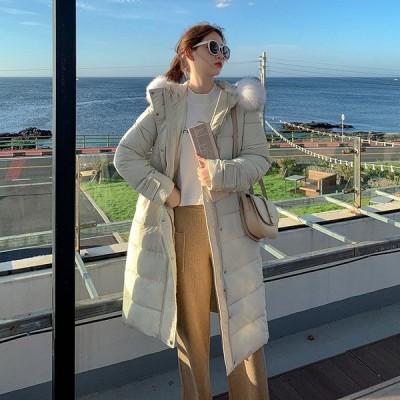 防寒 レディース ダウンジャケット 2019 ファッション 厚 中綿入りジャケット 大活躍 細身 ロングコート ファー襟 フード付き
