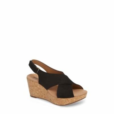 クラークス CLARKS レディース サンダル・ミュール ウェッジソール シューズ・靴 Annadel Eirwyn Wedge Sandal Black Nubuck