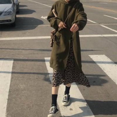レイヤード風 ドッキング ワンピース レオパード柄 ワンピース ロング丈 2色 カーキ ブラック レディース ファッション 韓国 オルチャン