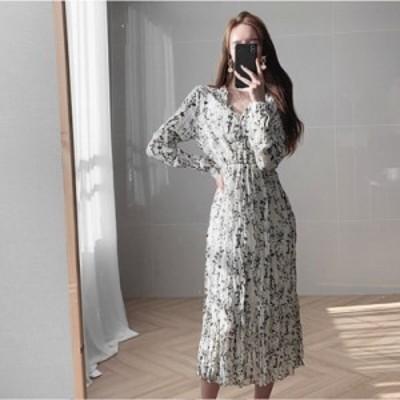 レディースファッション 韓国風プリントローブドレス女性ドレス緩い長袖ファッション潮ヴィンテージドレスVestidos de fiesta  Korea