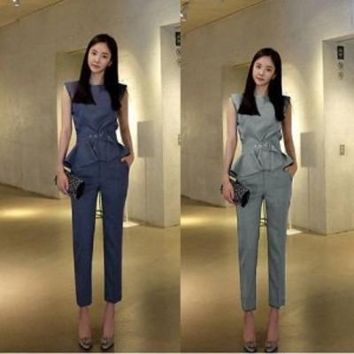 パンツドレス セットアップ パンツ パンツスーツ ノースリーブ ストレートパンツ ベルト付き タイト グレー ブルー センタープレスパンツ