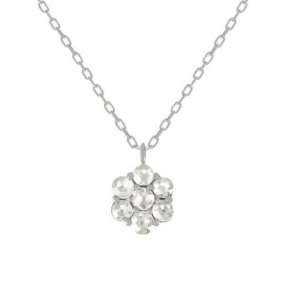 ダイヤモンド ネックレス プラチナ 4月誕生石 0.20カラット ローズカット フラワー 7石  プレゼント 天然石 京セラ
