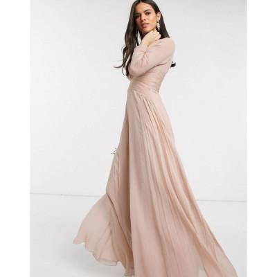 エイソス マキシドレス レディース ASOS DESIGN Bridesmaid ruched waist maxi dress with long sleeves and pleat skirt エイソス ASOS