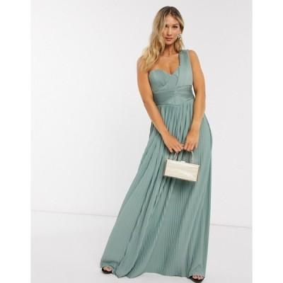 エイソス レディース ワンピース トップス ASOS DESIGN Premium one shoulder pleated panel maxi dress in spearmint
