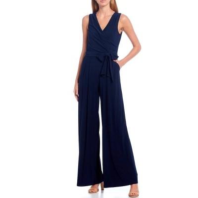 エリザジェイ レディース ワンピース トップス Surplice V-Neck Sleeveless Tie Waist Wide Leg Jersey Jumpsuit Navy