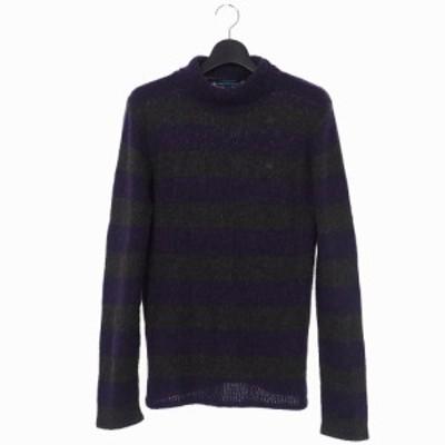 【中古】バーバリーブルーレーベル ボーダー タートルネック ニット セーター  ロゴ 刺? M 紫 パープル 緑 グリーン