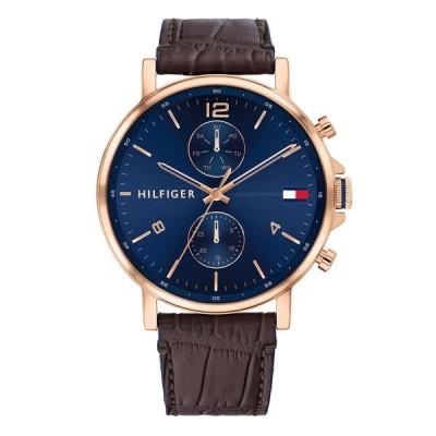 トミーヒルフィガー メンズ マルチファンクション 44ミリ ピンクゴールド ネイビー ブラウン レザー 革ベルト 1710418 あすつく 腕時計