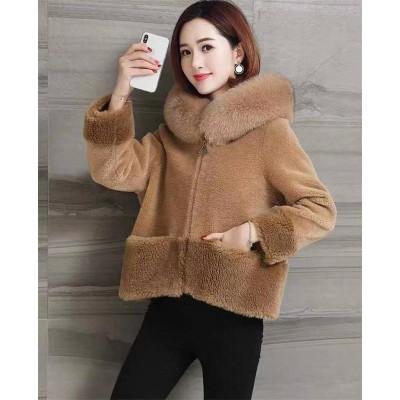 ◆送料無料◆秋と冬の新しい 模造 毛皮の子羊の豪華なジャケット 日系 女性  ゆるい 裏起毛 コートフード付きの羊の毛刈りのジャケット