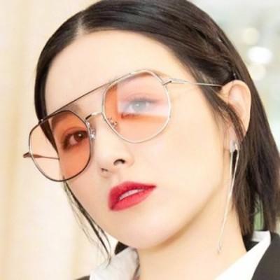 女性のスタイリッシュな金属ポリゴンフレームレトロダブル鼻ビームサングラス
