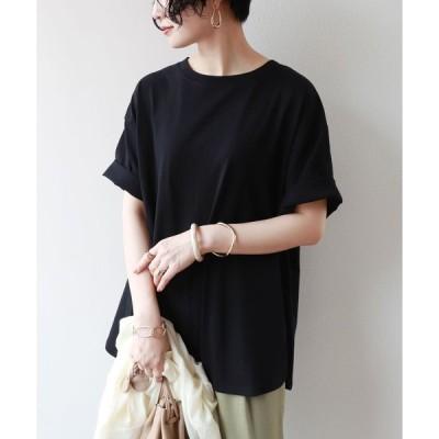 tシャツ Tシャツ コットン半袖オーバーサイズ裾ラウンドヘムTシャツ