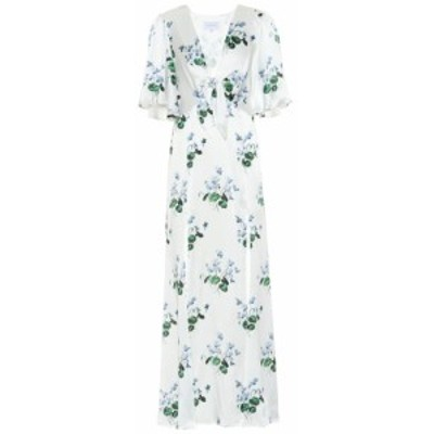 レ レヴェリズ Les Reveries レディース ワンピース ワンピース・ドレス Floral silk-satin maxi dress Blue Daffodil W White