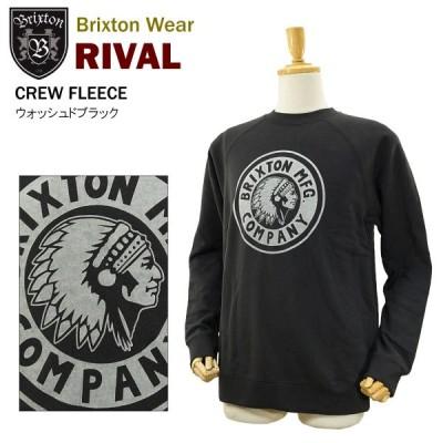 ブリクストン ライバル クルー フリース ウォッシュドブラック クルーネックトレーナー (BRIXTON RIVAL CREW FLEECE)