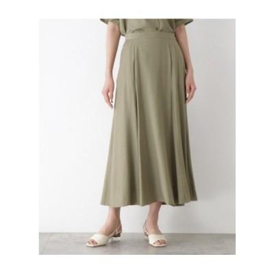 OZOC(オゾック)[洗える]リネンライクロングフレアスカート