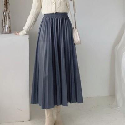 40代 50代 60代 プリーツスカート ロング丈 洗える フェイクレザー ブラック お手入れ簡単 レザー見えプリーツスカート