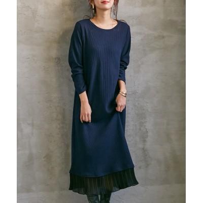 【ワッフル素材】裾プリーツマキシ丈長袖ワンピース (ワンピース)Dress