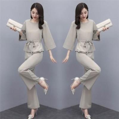 パンツスーツ パンツドレス レディース 成人式 無地 セットアップ ブラウス ワイドパンツ ガウチョパンツ フォーマル 大きいサイズ 通勤