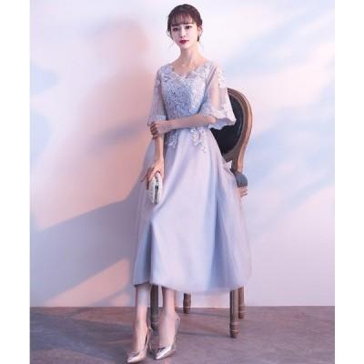 花柄 刺繍 レース 大人 かわいい フレア Aライン ドレス