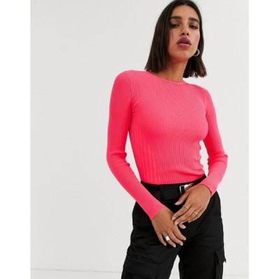 ベルシュカ Bershka レディース Tシャツ トップス bright knitted top in fuschia pink ベージュ