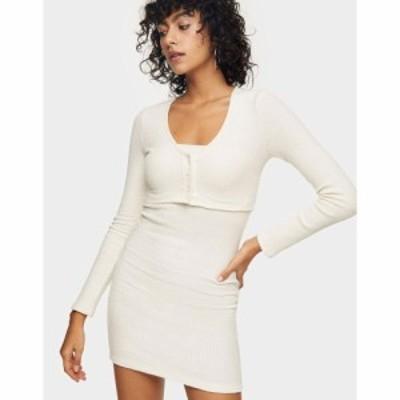 トップショップ Topshop レディース ボディコンドレス ミニ丈 ワンピース・ドレス Cardigan Bodycon Mini Dress In Cream クリーム