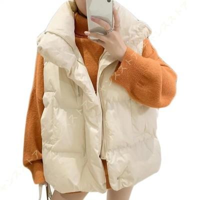 レディース ショートベスト 中綿ベスト スリム 冬服 綿入れ ベスト 冬服 ダウン ベスト 大きいサイズ トップス おしゃれ 可愛い ショット丈 ノースリーブ