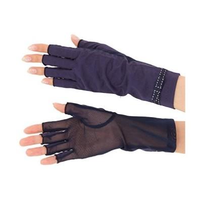 エル (ELLE) ショートタイプ さらっと ひんやり 接触冷感 コットン & メッシュ コンビ スマホ対応 UV手袋 指きり 24