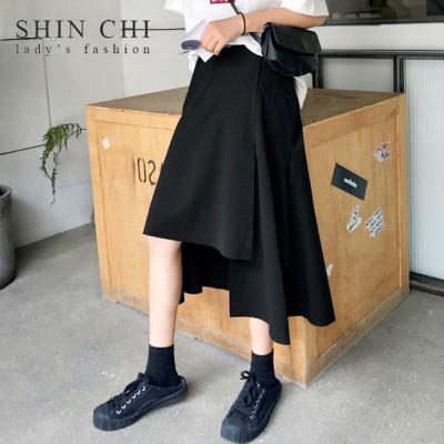 💛国内ストア💛 アシンメトリーデザイン スカート ボトムス 韓国スタイル 韓国ファッション オルチャン かわいい 個性的 おしゃれ シンプル カジュアル